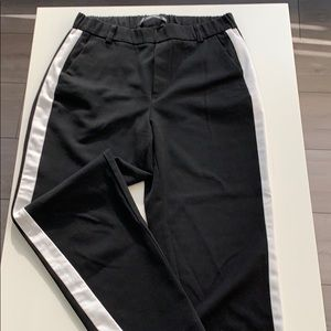 Black with white accent stripe pants- straight leg